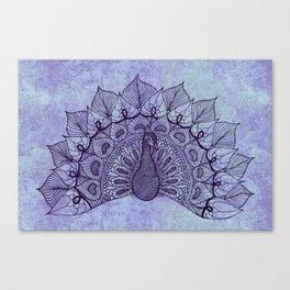 Doodle Peacock Purple Canvas Print