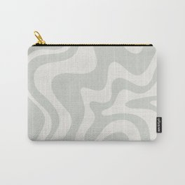 Liquid Swirl Modern Abstract Pattern in Pale Stone and Light Silver Sage Gray Carry-All Pouch