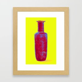 A gilt-decorated powder-blue rouleau vase Chine, Qing Dynasty, Kangxi period Neon art by Ahmet Asar Framed Art Print