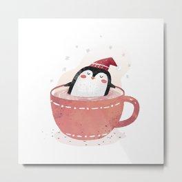 penguin in tea cup Metal Print