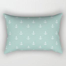 Maine Blue Anchor Print Rectangular Pillow