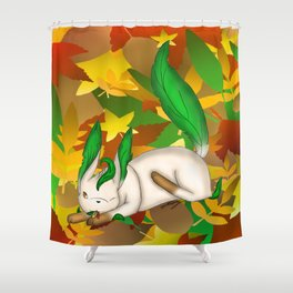 Playing with Leaves Shower Curtain