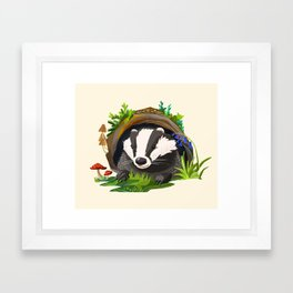 Badger and Bluebells Framed Art Print