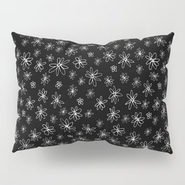 Loopy Flowers - white on black Pillow Sham