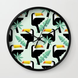 Seamless tropical pattern with birds. Wall Clock