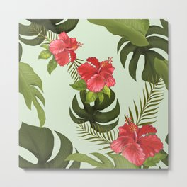 Tropical Pink Hibiscus Floral Metal Print