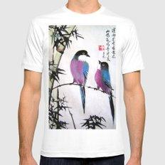 blue bird Mens Fitted Tee MEDIUM White