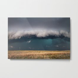 Small - Large Storm Towering Over Windmill in Texas Metal Print