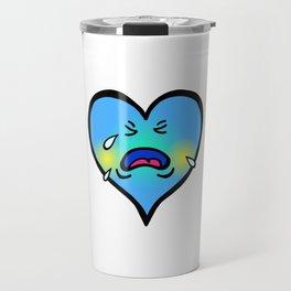 Crying Blue Heart Travel Mug