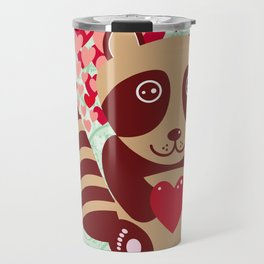 funny raccoon with red heart. I love you Travel Mug