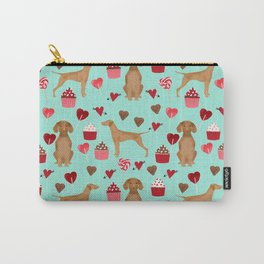 Vizsla valentines day dog breed gifts for dog lover unique dog pet portraits animal art Carry-All Pouch
