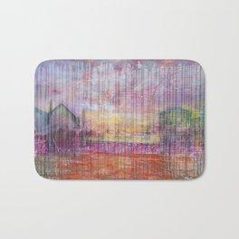 Destin Harbor Pink Sky Sunset abstract mixed media Bath Mat