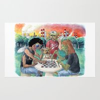 league Area & Throw Rugs featuring Mutant League Checkers by Justin Smith
