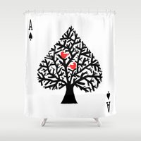 ace Shower Curtains featuring Ace of spade by Picomodi