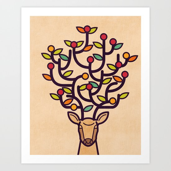 One Happy Deer Art Print