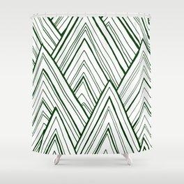 Stripe Mountains - Dark Green Shower Curtain