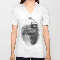 washington dc V-neck T-shirts featuring Locked - Washington, DC by tflow13