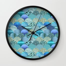 Blue Turquoise Glamour Fish Skin Scale Pattern Wall Clock