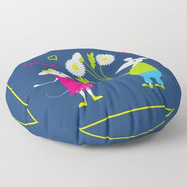 pair of white enamored mouses Floor Pillow