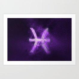 Pisces Zodiac Sign. Abstract night sky. Art Print
