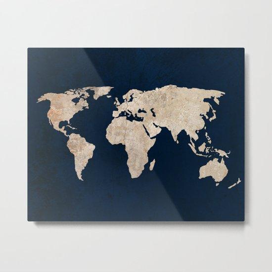 Inverted Rustic World Map Metal Print