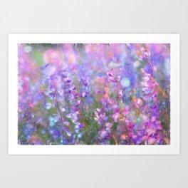 Field of Tall Purple Flowers Impressionist Painting Art Print