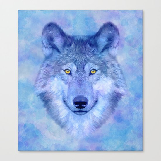 Sky blue wolf with Golden eyes Canvas Print