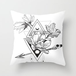 Alchemy symbol with moon and flowers Throw Pillow