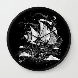Sailing ship above the clouds Wall Clock