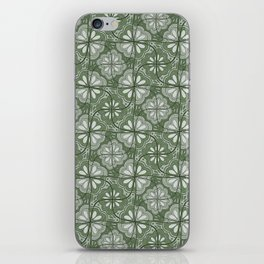 Continuous Flowers Pattern Tessellation in Green iPhone Skin