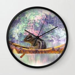Chipmunk Paddling a Canoe A185 Wall Clock