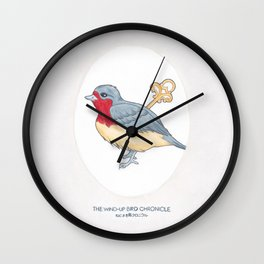 Haruki Murakami's The Wind-Up Bird Chronicle // Illustration of a Bird with a Wind-up Key in Pencil Wall Clock