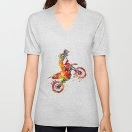 Boy Motocross Colorful Watercolor Motorcycle Art Unisex V-Neck