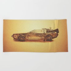 Lost in the Wild Wild West! (Golden Delorean Doubleexposure Art) Beach Towel