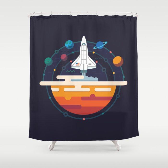 Space Shuttle & Solar System Shower Curtain