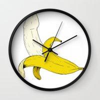 banana Wall Clocks featuring Banana by Joseph Makes