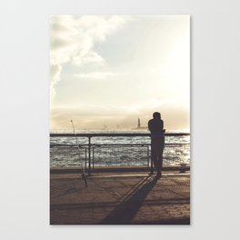 Lady Liberty, my man, some fisher people. Canvas Print