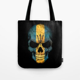 Dark Skull with Flag of Barbados Tote Bag