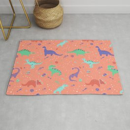 Dinosaurs in Coral Space Rug