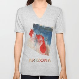 Arizona map outline Red Blue nebulous watercolor Unisex V-Neck