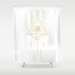 Mandala Golden Eye Geometric Tribal Shower Curtain