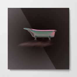 Art Deco Retro Style Claw Foot Bathtub// Wall Paper Metal Print