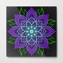 Blue and Purple Flower Pattern Metal Print