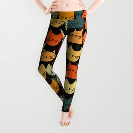 Jelly Cats Hand Drawn Vintage Dark Leggings