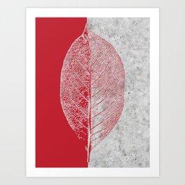 Natural Outlines - Leaf Red & Concrete #635 Art Print
