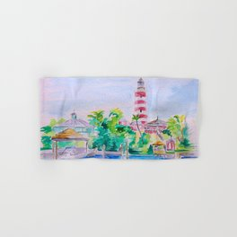 Elbow Reef Lighthouse Hope Town, Abaco, Bahamas Watercolor painting Hand & Bath Towel