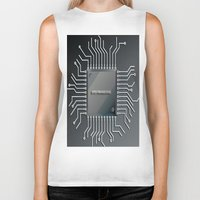 computer Biker Tanks featuring Computer Chip by Robin Curtiss