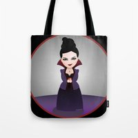 regina mills Tote Bags featuring Kokeshi Regina by Pendientera