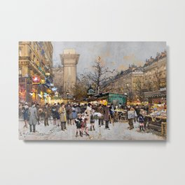Paris Porte Saint-Denis, Paris, France by Eugene Lalien Laloue Metal Print