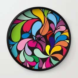 Rainbow colorful paisely on black Wall Clock